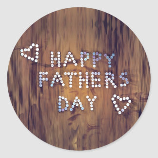 Happy Father's Day Nails on Wood Graphic Classic Round Sticker