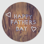 Happy Father's Day Nails on Wood Graphic Round Sticker