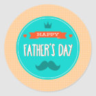 Happy Father's Day Peach and Teal Classic Round Sticker