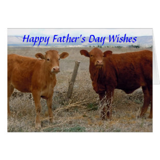 Happy Father's Day - Red Cow Animal Humor - Ranch Greeting Card