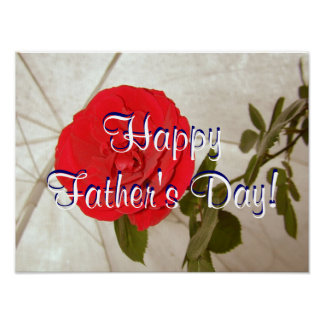 Happy Father's Day Red Rose Posters