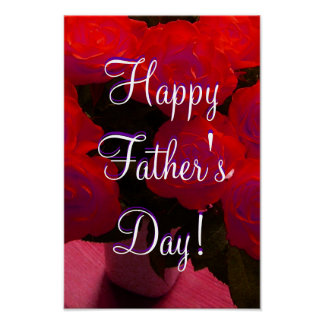 Happy Father's Day Red Roses Posters