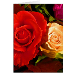 Happy Father's Day Red Yellow Roses III Cards