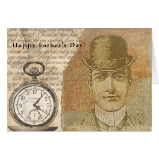Happy Father's Day Steampunk Gentleman Bowler Hat Card