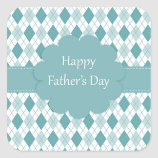 Happy father's day sticker, Green and white plaid Square Sticker