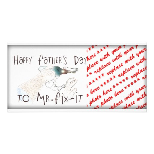 Happy Father's Day to Mr Fix-It (With Drill) Customized Photo Card