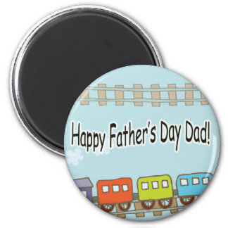 Happy Fathers Day Train 6 Cm Round Magnet