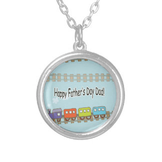Happy Fathers Day Train Silver Plated Necklace