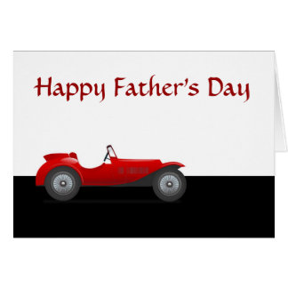 Happy Father's Day with racing car to Dad Greeting Card
