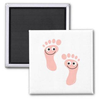 Happy Feet Square Magnet