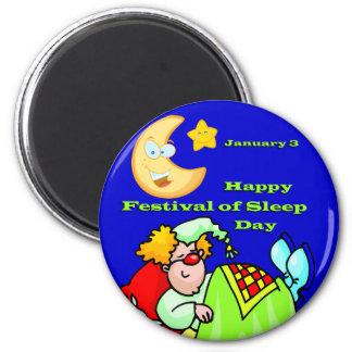 Happy Festival of Sleep Day January 3 6 Cm Round Magnet
