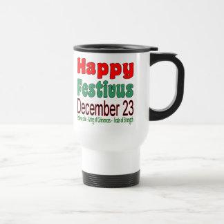 Happy Festivus December 23 15oz. White Stainless Steel Travel Mug