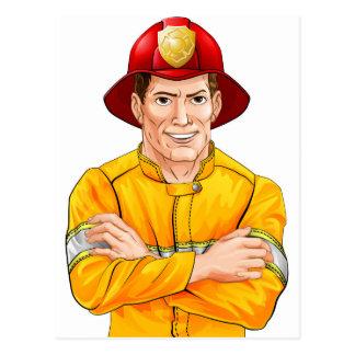 Happy fireman postcard