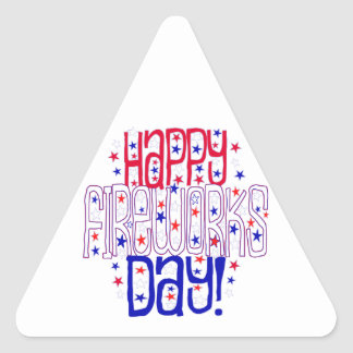 Happy Fireworks Day ! With Red White & Blue Stars Triangle Sticker