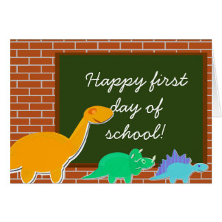 Happy First Day of School Cartoon Dinosaurs Greeting Card