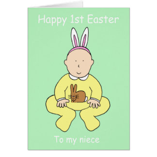 Happy First Easter Niece, baby in bunny ears. Greeting Card