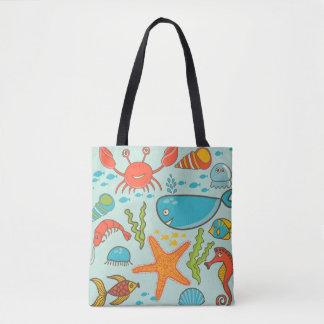 Happy Fish Cartoon under water sea Tote Bag
