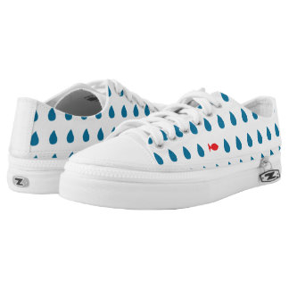 Happy fish on a rainy day. Low top shoes Printed Shoes