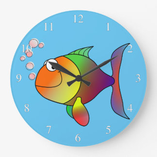 Happy Fish Small Numbers Clock