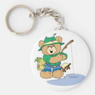 Happy Fishing Fisherman Bear Basic Round Button Key Ring