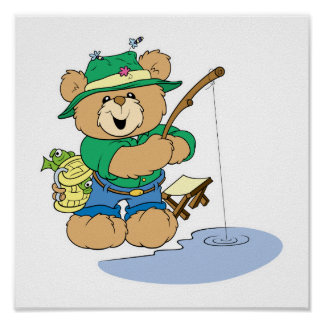 Happy Fishing Fisherman Bear Poster