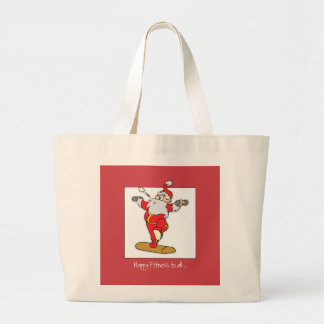 Happy Fitness Exercise Christmas with Santa Large Tote Bag