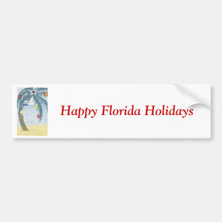 Happy Florida Holidays, palm tree with ornaments Car Bumper Sticker