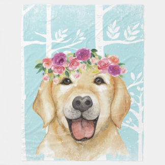 Happy Flower Animal in Blue Forest-Dog-Retriever Fleece Blanket