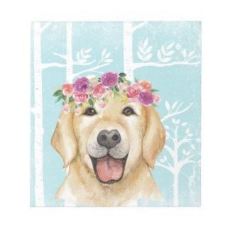 Happy Flower Animal in Blue Forest-Dog-Retriever Notepad