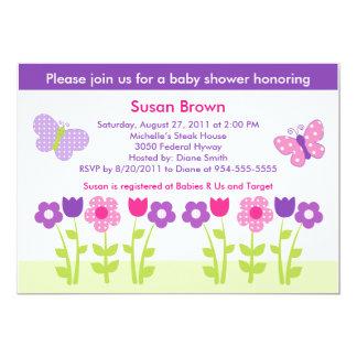 Happy Flower & Butterfly Baby Shower Invitation