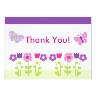 Happy Flower & Butterfly Thank You Card 13 Cm X 18 Cm Invitation Card