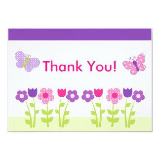 Happy Flower & Butterfly Thank You Card 13 Cm X 18 Cm Invitation Card