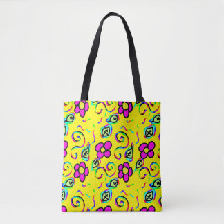 happy flower design tote bag