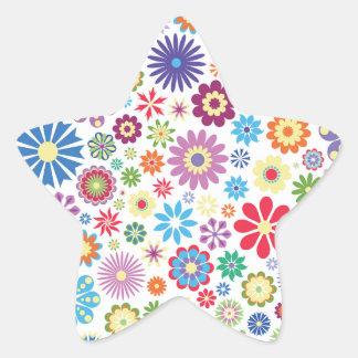 Happy flower power star sticker