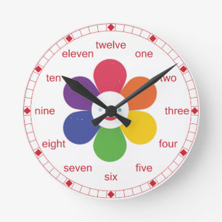 Happy Flower Round Clock