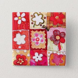 Happy Flowers 15 Cm Square Badge