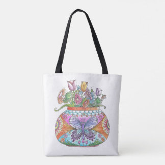 Happy Flowers All-Over-Print Tote Bag