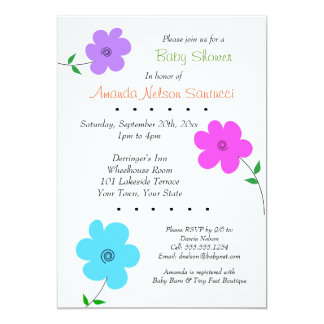 Happy Flowers Boy or Girl Baby Shower Card