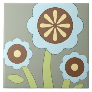 Happy Flowers Large Square Tile