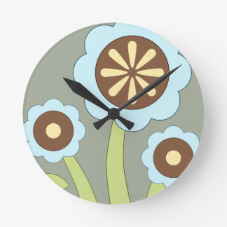 Happy Flowers Round Clock