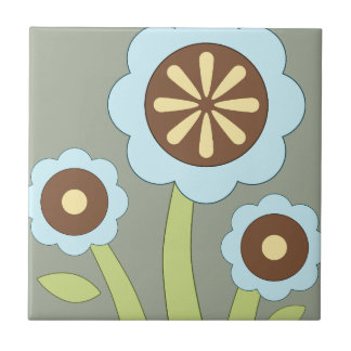 Happy Flowers Small Square Tile