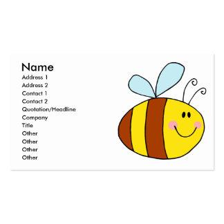 happy flying honeybee honey bee cartoon business cards