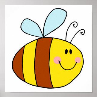 happy flying honeybee honey bee cartoon poster