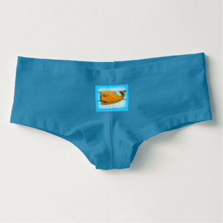 happy folk art whale hot shorts