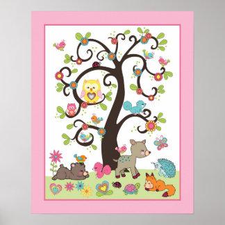 Happy Forest - Tree with Animals Nursey Art Print