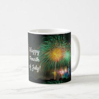 Happy Fourth of July Colorful Fireworks Coffee Mug