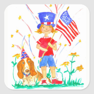Happy Fourth of July Girl Hound Dog Square Sticker