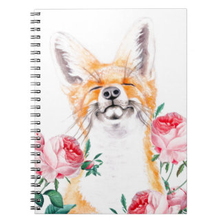 Happy Foxy And Roses Spiral Notebook
