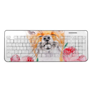 Happy Foxy And Roses Wireless Keyboard