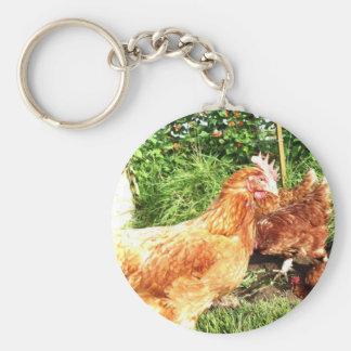 Happy Free range ex-battery chickens Key Ring